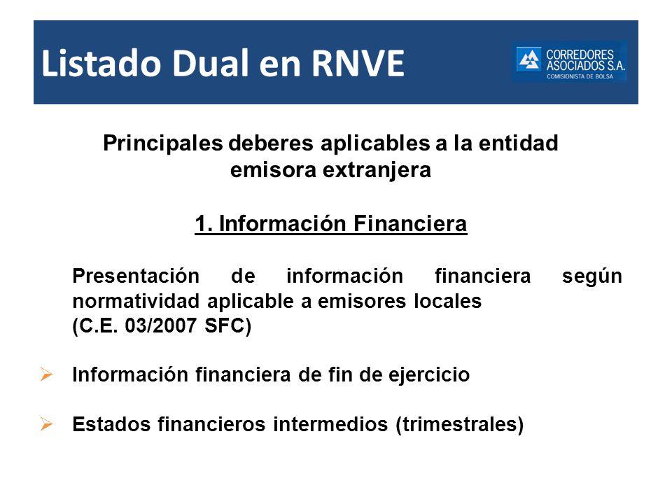 Listado Dual en RNVE Información Financiera Posibilidad de que la SFC establezca excepciones de requerimientos y plazos - No hay reglamentación Concepto SFC 2008041539-004-000 del 12/09/2008 En punto a la revelación de la información financiera con destino al RNVE, se deberá tener en cuenta lo previsto en el numeral 6 de la Circular Externa No.