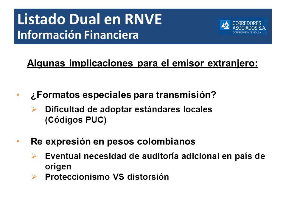 Listado Dual en RNVE Información Financiera Algunas implicaciones para el emisor extranjero: ¿Formatos especiales para transmisión? Dificultad de adop