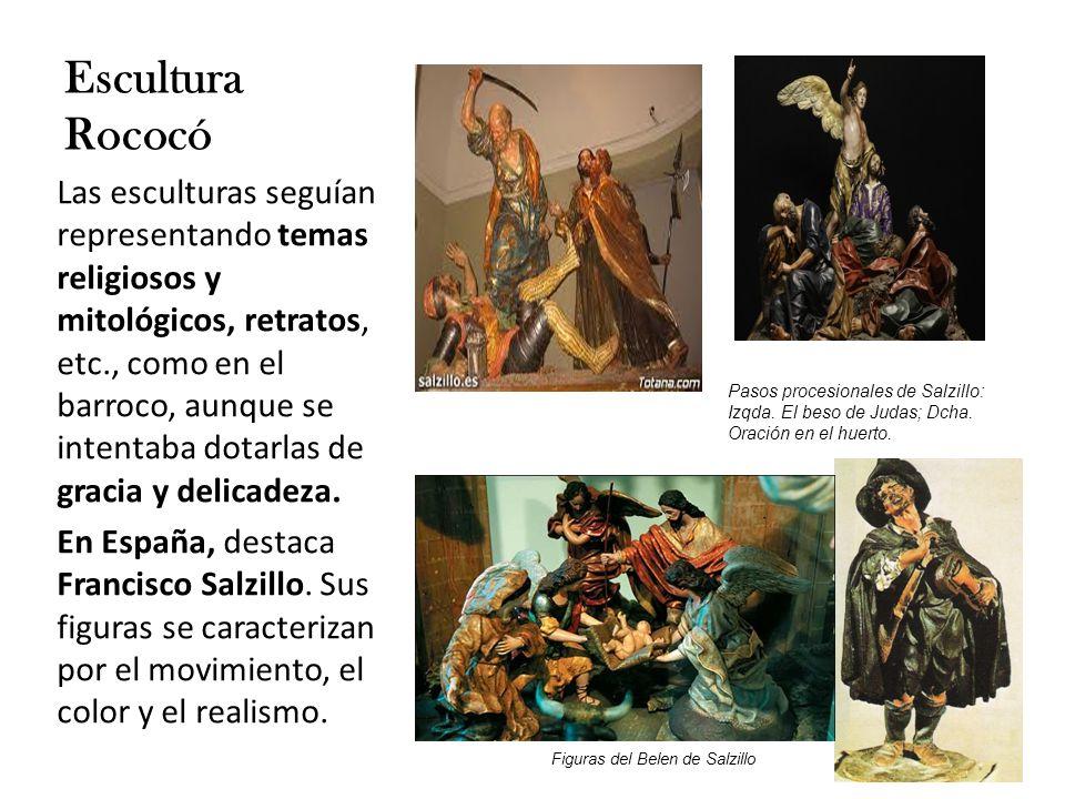 Las esculturas seguían representando temas religiosos y mitológicos, retratos, etc., como en el barroco, aunque se intentaba dotarlas de gracia y delicadeza.