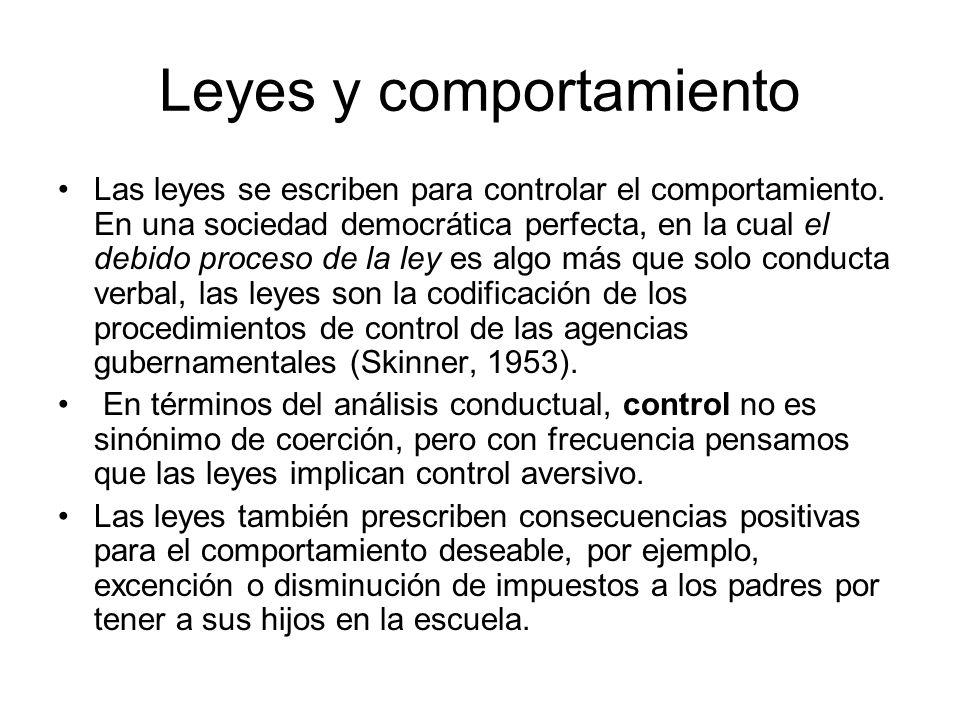 Leyes y comportamiento Las leyes se escriben para controlar el comportamiento.
