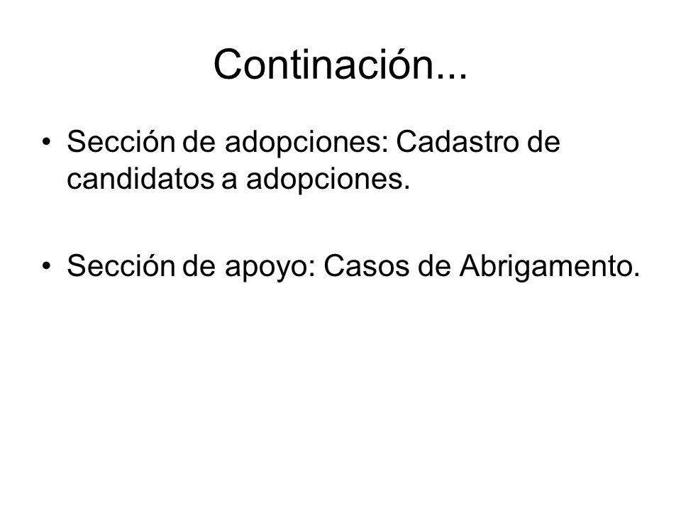 Continación...Sección de adopciones: Cadastro de candidatos a adopciones.