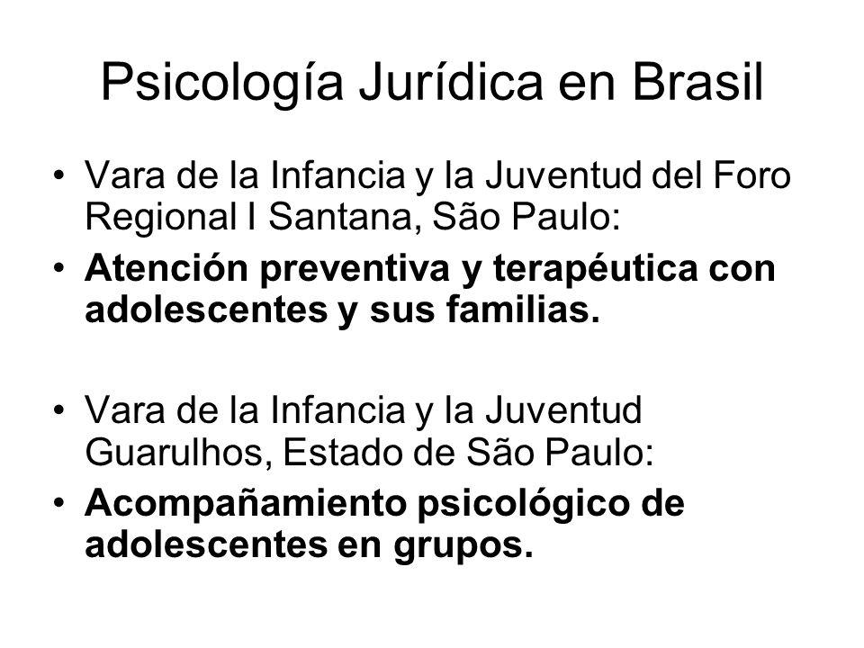 Psicología Jurídica en Brasil Vara de la Infancia y la Juventud del Foro Regional I Santana, São Paulo: Atención preventiva y terapéutica con adolescentes y sus familias.