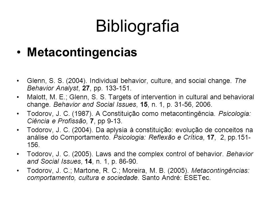 Bibliografia Metacontingencias Glenn, S.S. (2004).