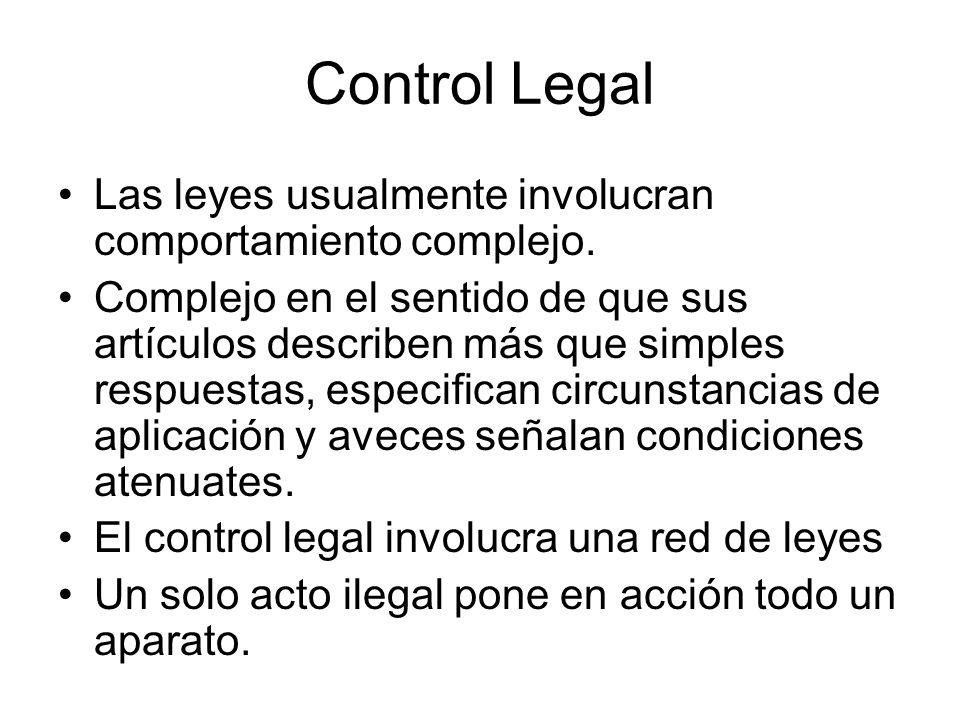Control Legal Las leyes usualmente involucran comportamiento complejo.