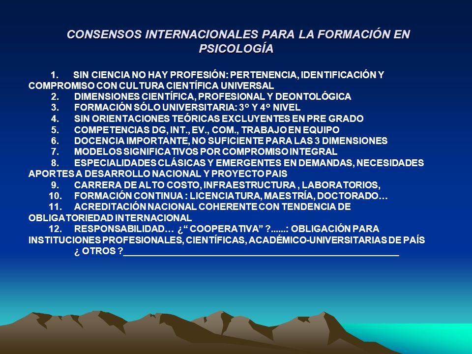 CONSENSOS INTERNACIONALES PARA LA FORMACIÓN EN PSICOLOGÍA CONSENSOS INTERNACIONALES PARA LA FORMACIÓN EN PSICOLOGÍA 1. SIN CIENCIA NO HAY PROFESIÓN: P