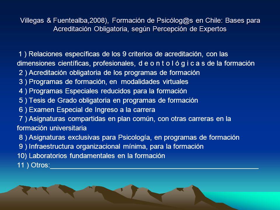 Villegas & Fuentealba,2008), Formación de Psicólog@s en Chile: Bases para Acreditación Obligatoria, según Percepción de Expertos 1 ) Relaciones especí