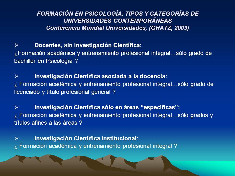 FORMACIÓN EN PSICOLOGÍA: TIPOS Y CATEGORÍAS DE UNIVERSIDADES CONTEMPORÁNEAS Conferencia Mundial Universidades, (GRATZ, 2003) Docentes, sin Investigaci