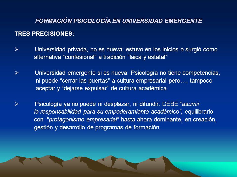 TENSIONES Y CONFLICTOS ENTRE PROPÓSITOS Y MISIONES: EMPODERAMIENTO ACADÉMICO DE LA PSICOLOGÍA A creación de programas asociada a factores mercado, percepción bajo costo (papel - lápiz), fácil acceso a RRHH,… DEBEMOS EXIGIR propósitos académicos, científicos y profesionales formación Psicología (Villegas, 1997; Toro & Villegas, 1999; Villegas & Toro, 2001) A conducción, gestión, poder orientados a finanzas, negocios, eficiencia,… DEBEMOS INCORPORAR criterios para sustentar seriedad de enseñanza- aprendizaje, investigación básica-aplicada; aspectos éticos, valóricos, d e o n t o l ó g i c o s de Psicología Al estilo competitivo para posicionarse, consolidarse; … DEBEMOS ASUMIR estilo cooperativo con instituciones de Psicología, para lograr coherencia con estándares nacionales e internacionales de formación