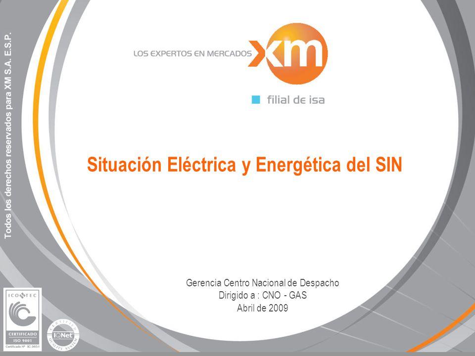 Situación Eléctrica y Energética del SIN Gerencia Centro Nacional de Despacho Dirigido a : CNO - GAS Abril de 2009