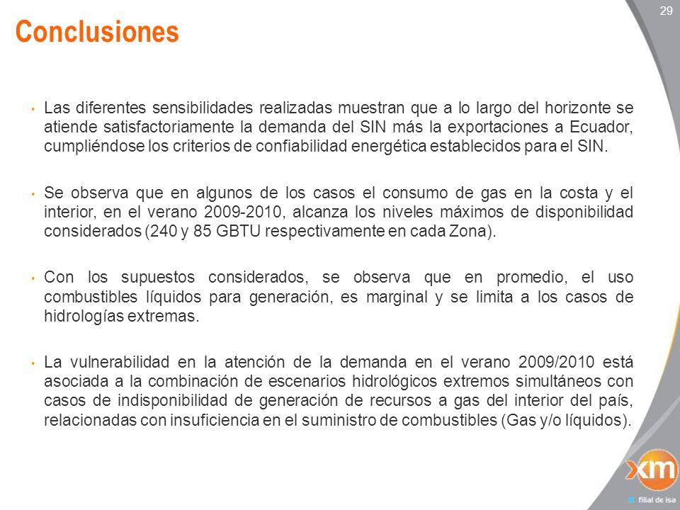 29 Las diferentes sensibilidades realizadas muestran que a lo largo del horizonte se atiende satisfactoriamente la demanda del SIN más la exportaciones a Ecuador, cumpliéndose los criterios de confiabilidad energética establecidos para el SIN.