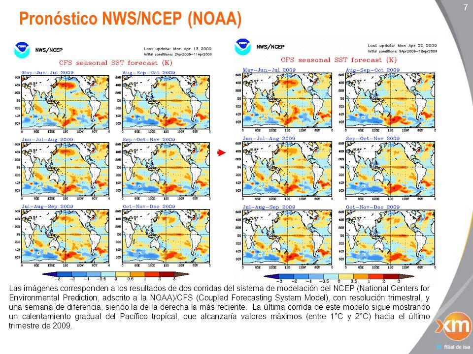 7 Las imágenes corresponden a los resultados de dos corridas del sistema de modelación del NCEP (National Centers for Environmental Prediction, adscrito a la NOAA)/CFS (Coupled Forecasting System Model), con resolución trimestral, y una semana de diferencia, siendo la de la derecha la más reciente.