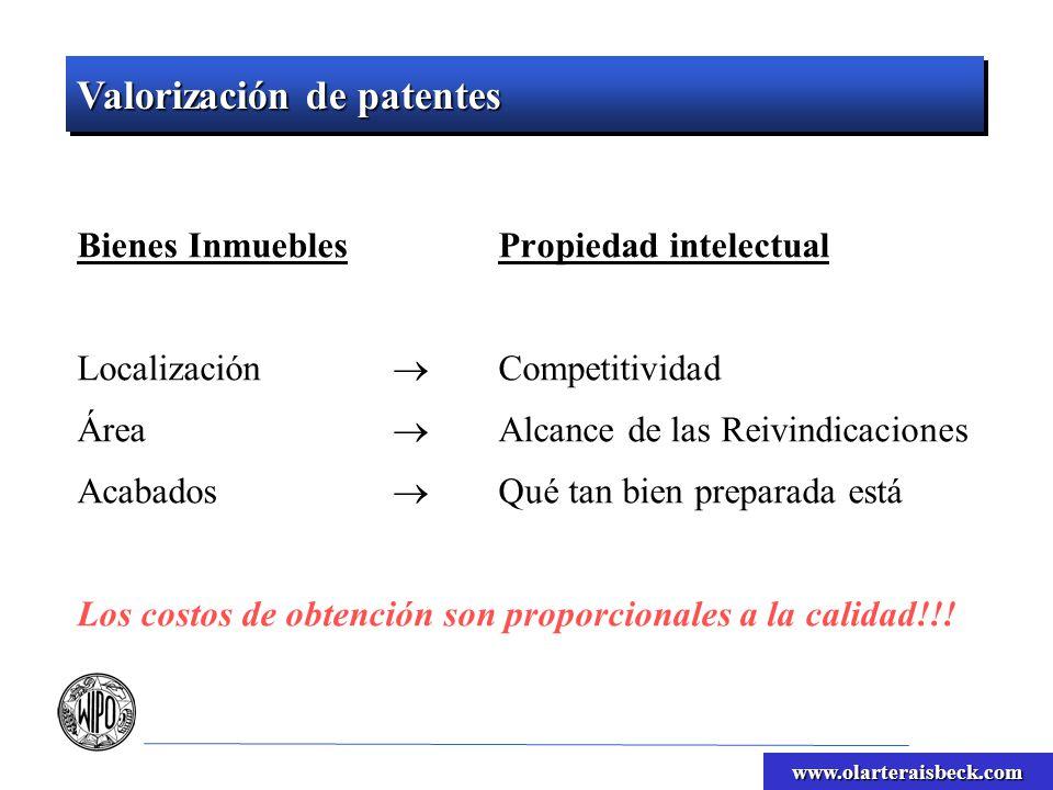 www.olarteraisbeck.com Bienes InmueblesPropiedad intelectual Localización Competitividad Área Alcance de las Reivindicaciones Acabados Qué tan bien pr