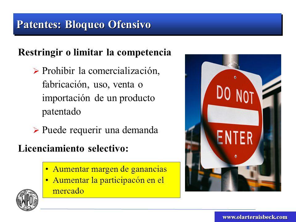 www.olarteraisbeck.com Aumentar margen de ganancias Aumentar la participacón en el mercado Patentes: Bloqueo Ofensivo Restringir o limitar la competen