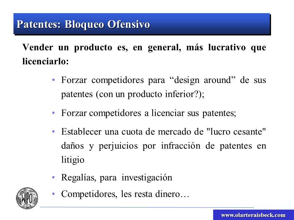 www.olarteraisbeck.com Patentes: Bloqueo Ofensivo Vender un producto es, en general, más lucrativo que licenciarlo: Forzar competidores para design ar