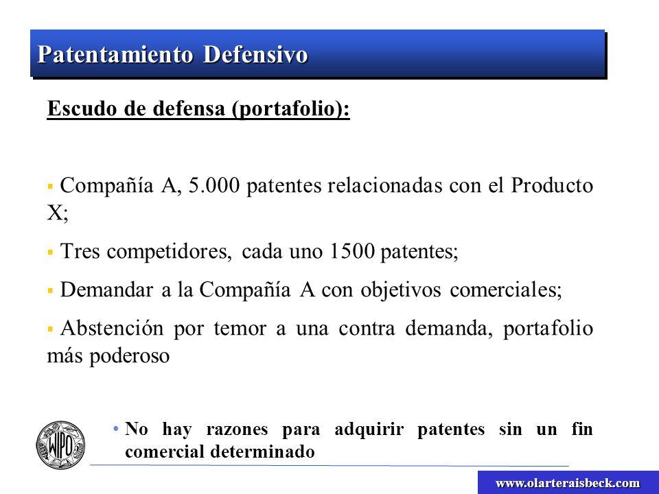www.olarteraisbeck.com Patentamiento Defensivo Escudo de defensa (portafolio): Compañía A, 5.000 patentes relacionadas con el Producto X; Tres competi