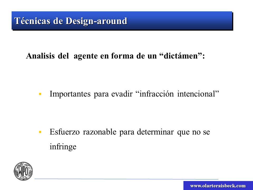 www.olarteraisbeck.com Técnicas de Design-around Analisis del agente en forma de un dictámen: Importantes para evadir infracción intencional Esfuerzo razonable para determinar que no se infringe