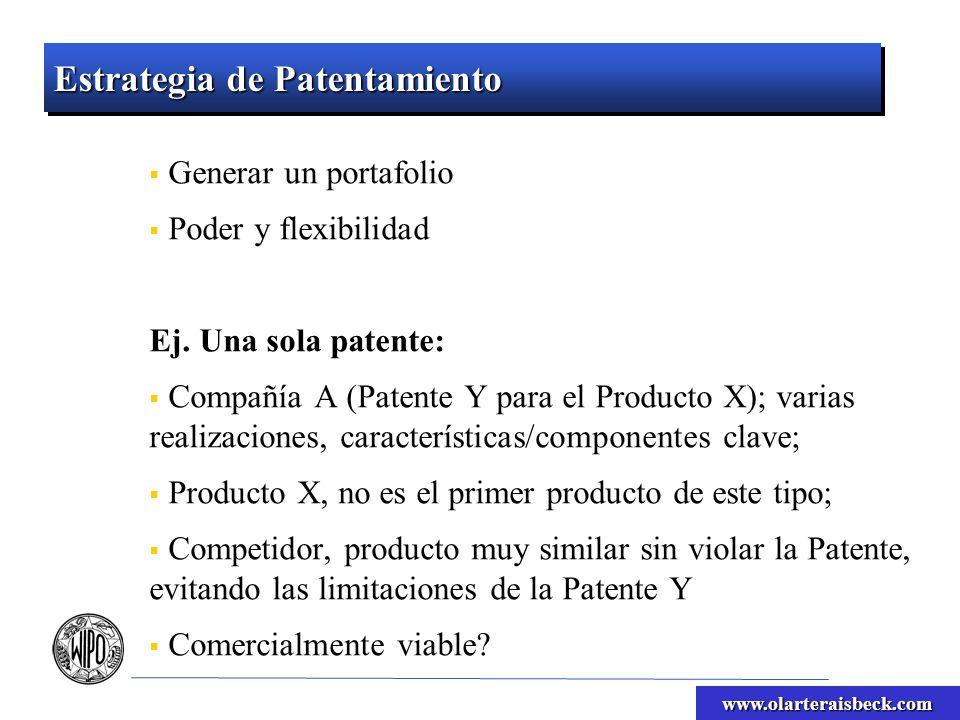 www.olarteraisbeck.com Estrategia de Patentamiento Portafolio de patentes: Compañía, diez patentes de variaciones del Producto X; Protección a diversas características/componentes clave; Uso en el entorno comercial relacionado; Difícil diseñar evitando las limitaciones del portafolio completo; Ej.