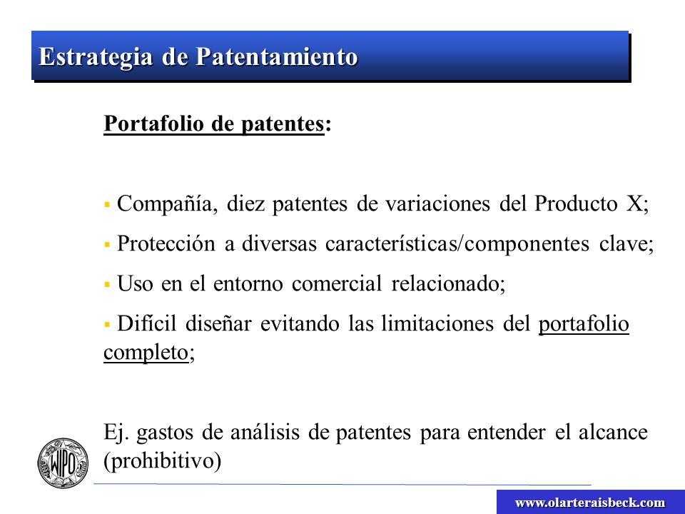 www.olarteraisbeck.com Estrategia de Patentamiento Obligar a competidores a licenciar; Pagar regalías; Sacar competidores del mercado (infracción); Licencias mutuas?