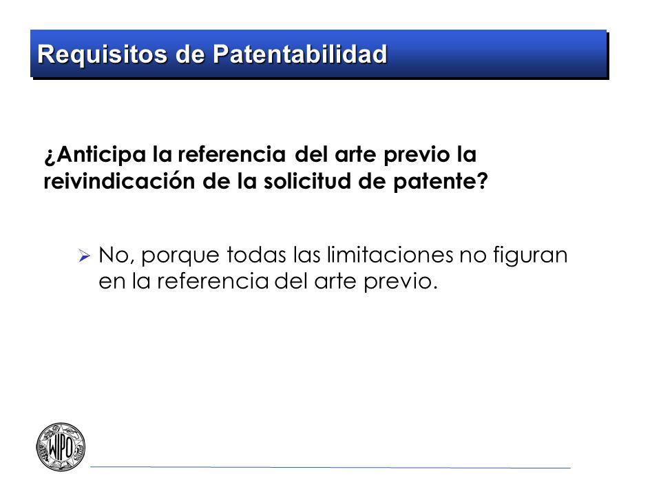Requisitos de Patentabilidad ¿Anticipa la referencia del arte previo la reivindicación de la solicitud de patente? No, porque todas las limitaciones n