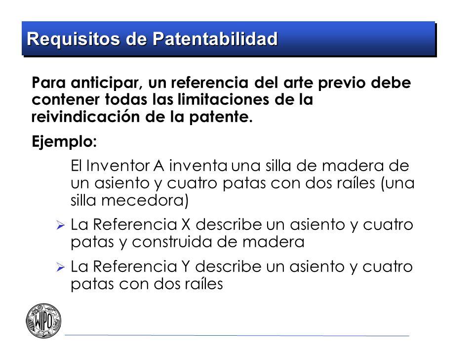 Requisitos de Patentabilidad Para anticipar, un referencia del arte previo debe contener todas las limitaciones de la reivindicación de la patente. Ej