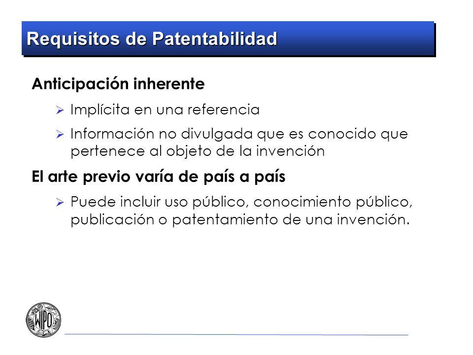 Requisitos de Patentabilidad Anticipación inherente Implícita en una referencia Información no divulgada que es conocido que pertenece al objeto de la
