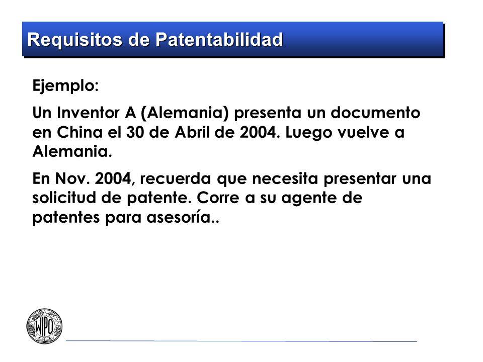 Requisitos de Patentabilidad Ejemplo: Un Inventor A (Alemania) presenta un documento en China el 30 de Abril de 2004. Luego vuelve a Alemania. En Nov.