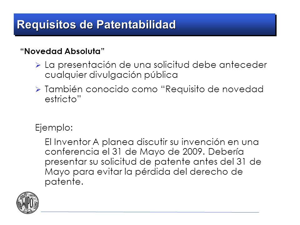 Requisitos de Patentabilidad Novedad Absoluta La presentación de una solicitud debe anteceder cualquier divulgación pública También conocido como Requ