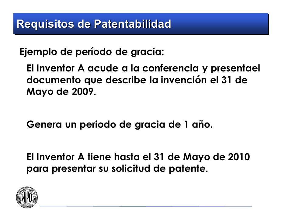 Requisitos de Patentabilidad Ejemplo de período de gracia: El Inventor A acude a la conferencia y presentael documento que describe la invención el 31