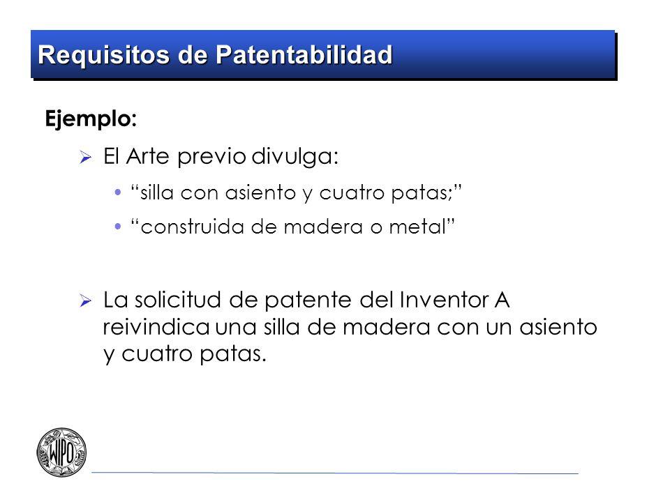 Requisitos de Patentabilidad Ejemplo: El Arte previo divulga: silla con asiento y cuatro patas; construida de madera o metal La solicitud de patente d