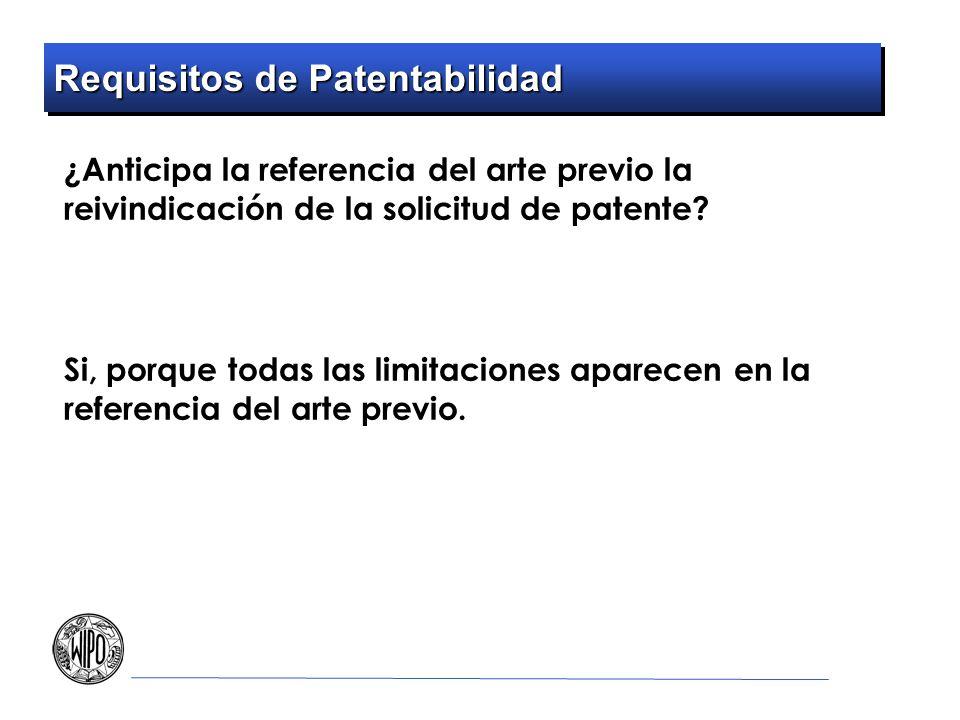 Requisitos de Patentabilidad ¿Anticipa la referencia del arte previo la reivindicación de la solicitud de patente? Si, porque todas las limitaciones a
