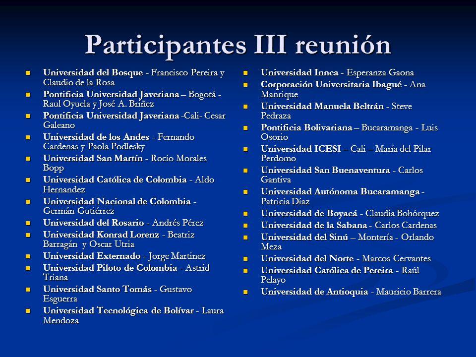 Participantes III reunión Universidad del Bosque - Francisco Pereira y Claudio de la Rosa Universidad del Bosque - Francisco Pereira y Claudio de la R