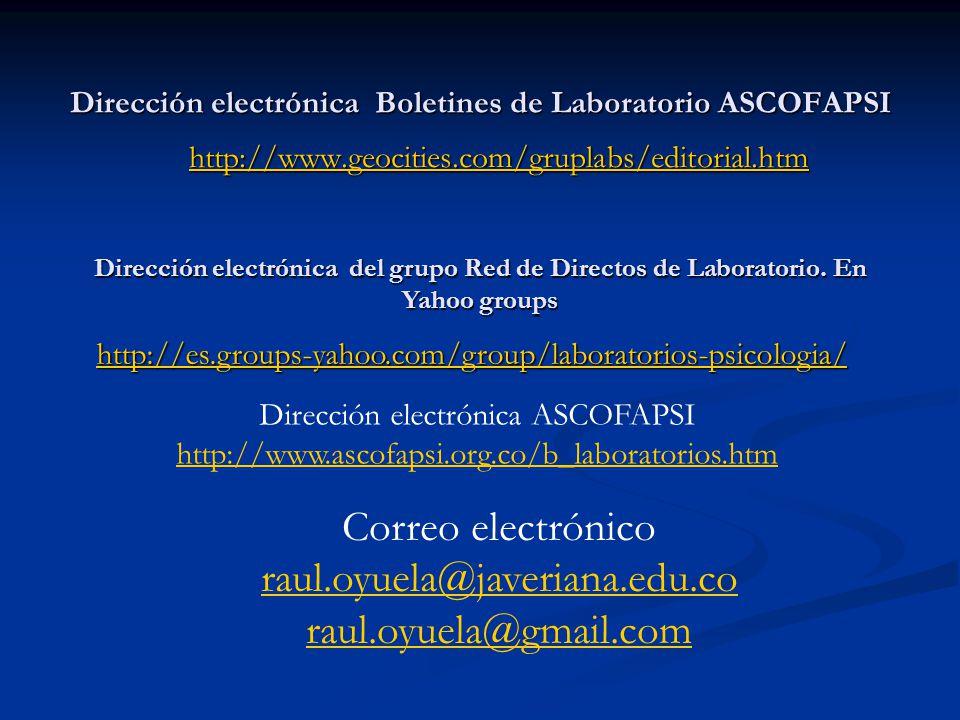 Dirección electrónica Boletines de Laboratorio ASCOFAPSI http://www.geocities.com/gruplabs/editorial.htm Dirección electrónica del grupo Red de Direct