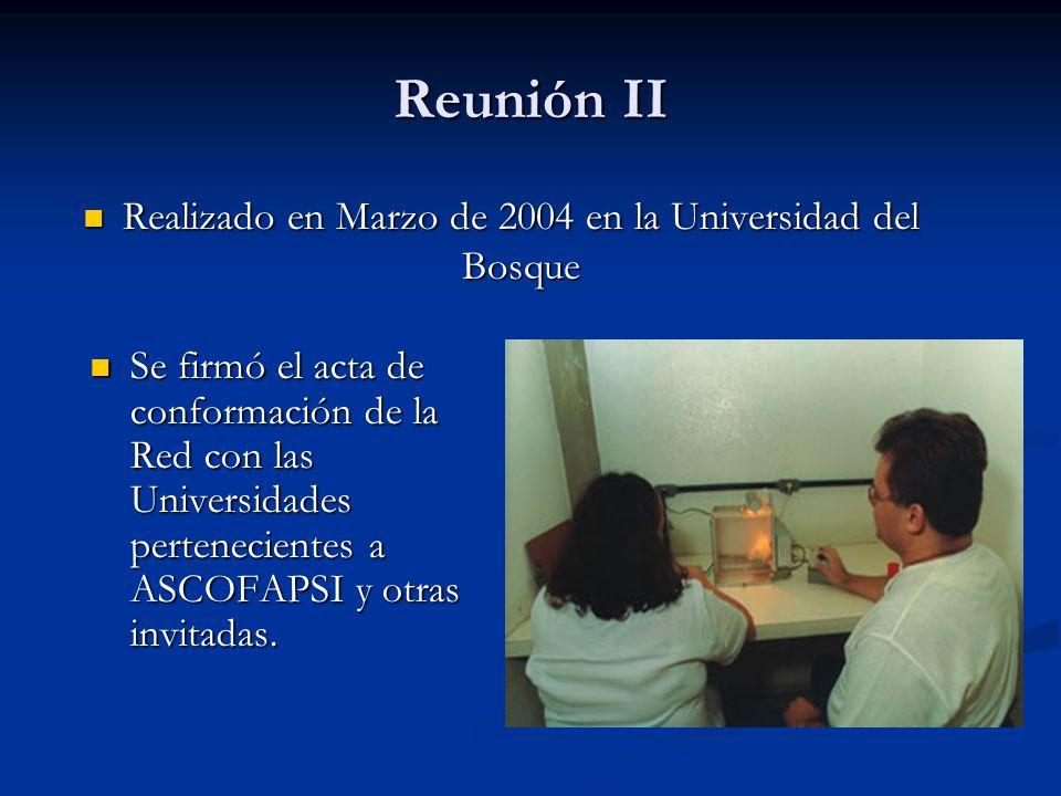 Reunión II Realizado en Marzo de 2004 en la Universidad del Bosque Realizado en Marzo de 2004 en la Universidad del Bosque Se firmó el acta de conform