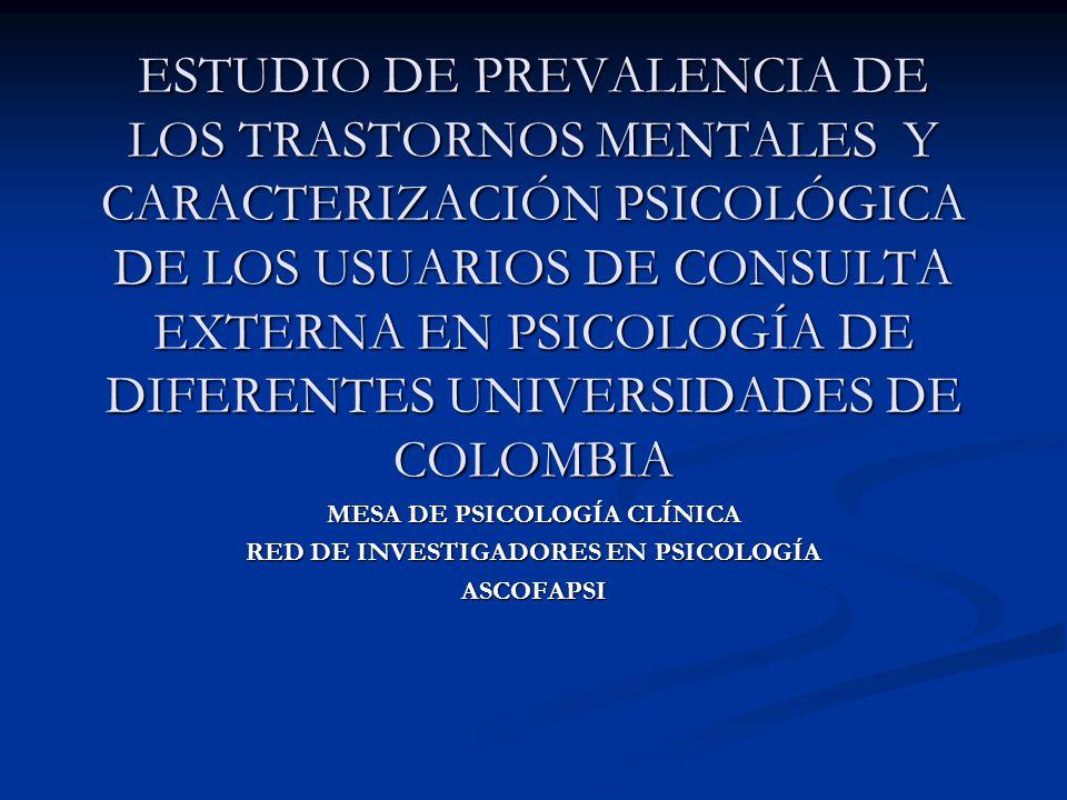 Objetivo general Establecer la prevalencia de los trastornos mentales de la población que consulta en los servicios psicológicos ofrecidos por diferentes universidades de Medellín Establecer la prevalencia de los trastornos mentales de la población que consulta en los servicios psicológicos ofrecidos por diferentes universidades de Medellín
