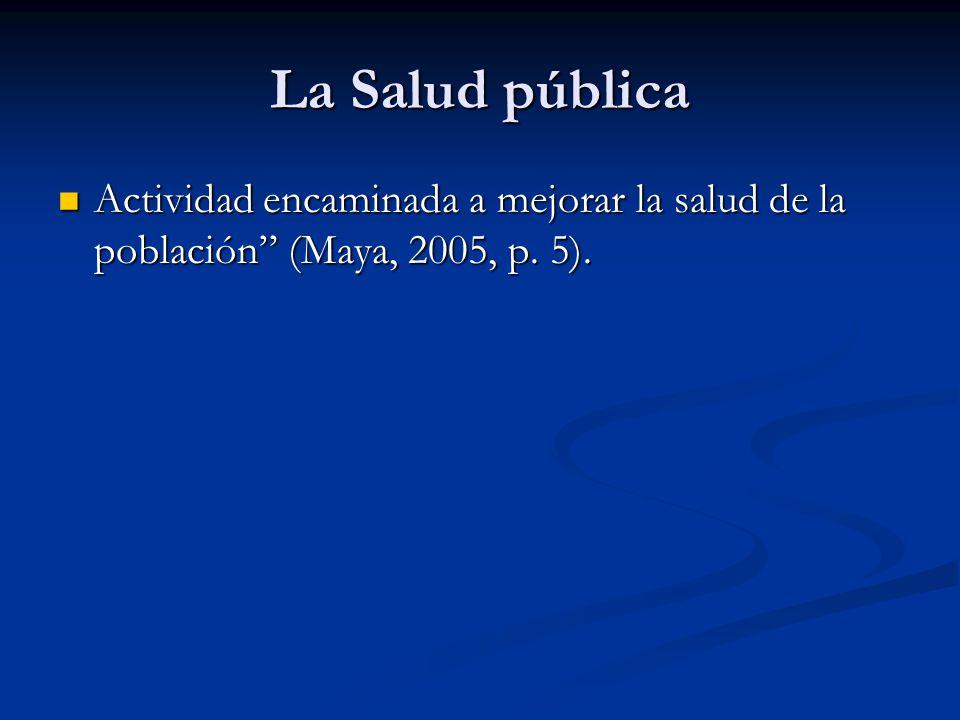 La Salud pública Actividad encaminada a mejorar la salud de la población (Maya, 2005, p. 5). Actividad encaminada a mejorar la salud de la población (