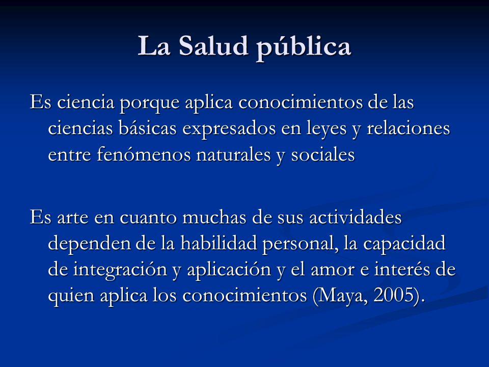 La Salud pública Es ciencia porque aplica conocimientos de las ciencias básicas expresados en leyes y relaciones entre fenómenos naturales y sociales