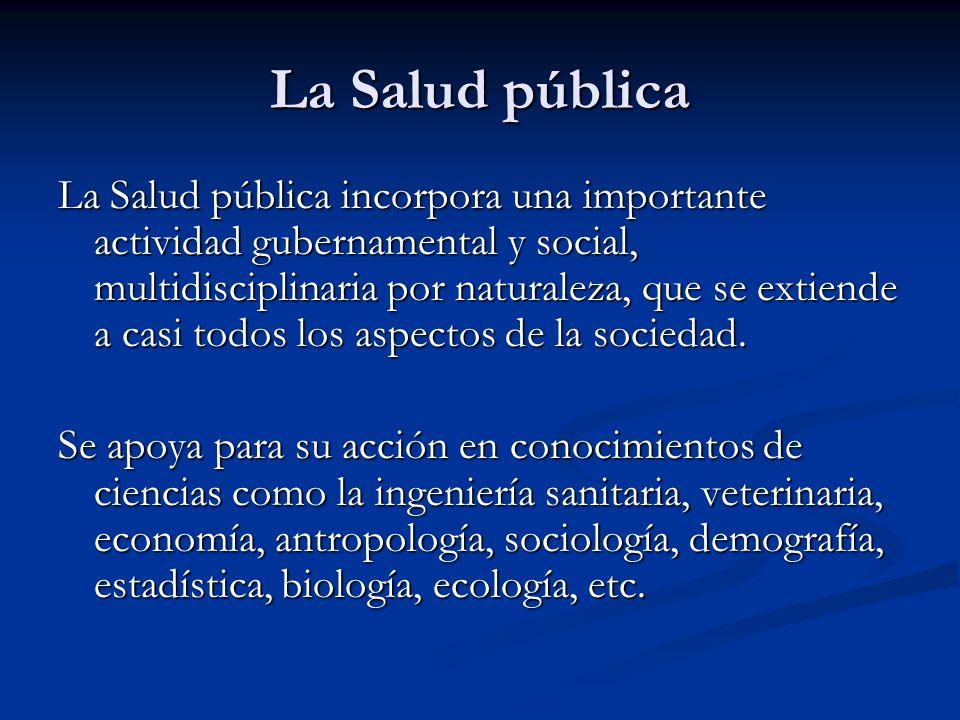 La Salud pública La Salud pública incorpora una importante actividad gubernamental y social, multidisciplinaria por naturaleza, que se extiende a casi
