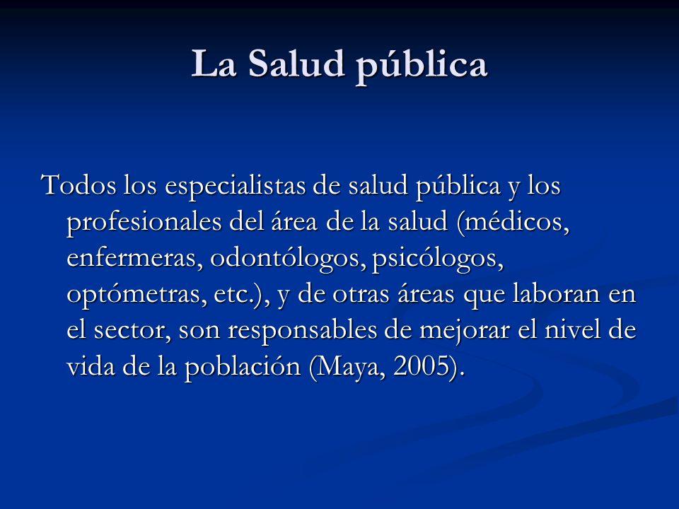 La Salud pública Todos los especialistas de salud pública y los profesionales del área de la salud (médicos, enfermeras, odontólogos, psicólogos, optó