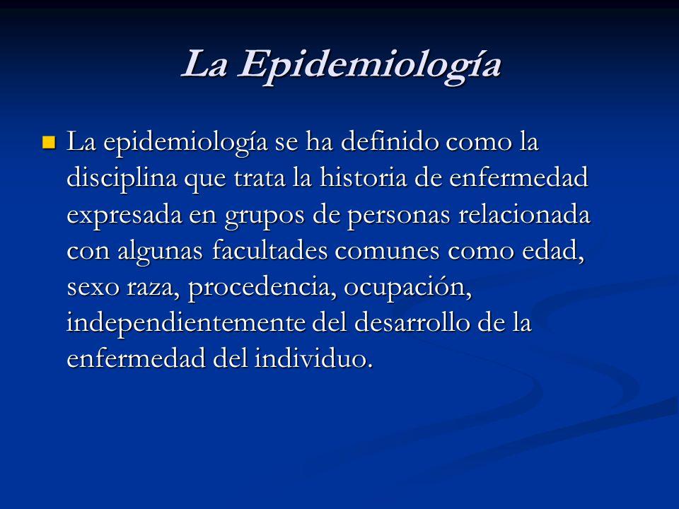 La Epidemiología La epidemiología se ha definido como la disciplina que trata la historia de enfermedad expresada en grupos de personas relacionada co
