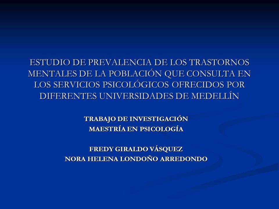 ESTUDIO DE PREVALENCIA DE LOS TRASTORNOS MENTALES DE LA POBLACIÓN QUE CONSULTA EN LOS SERVICIOS PSICOLÓGICOS OFRECIDOS POR DIFERENTES UNIVERSIDADES DE