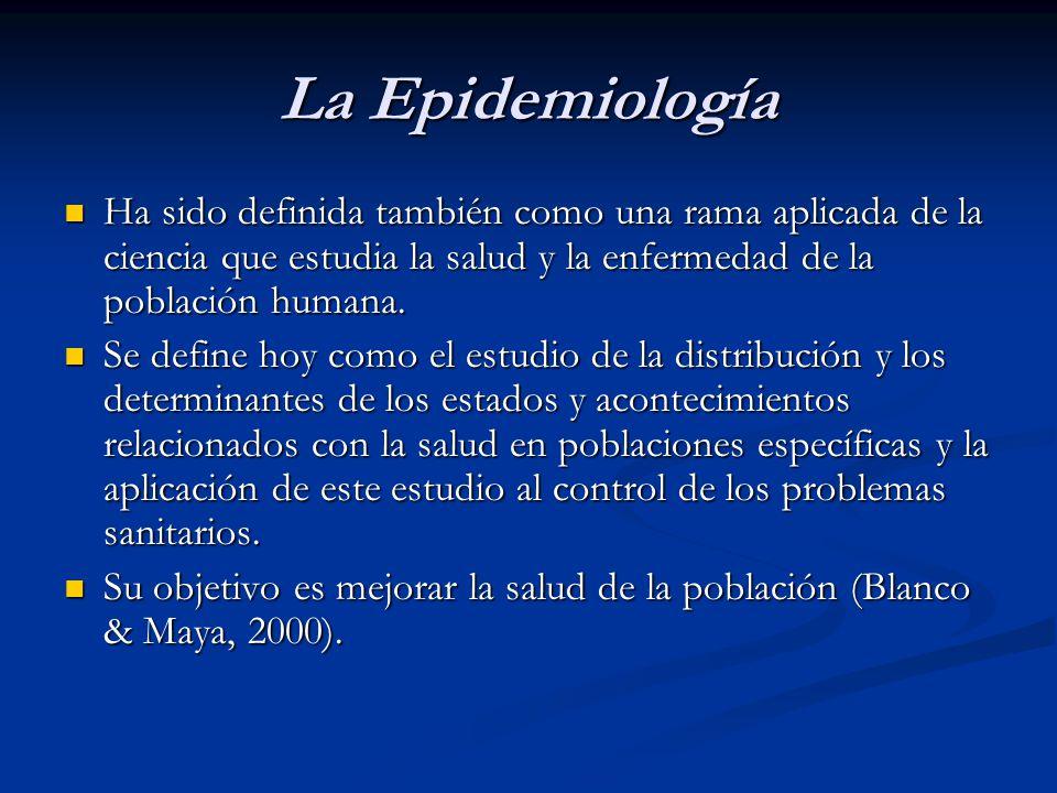 La Epidemiología Ha sido definida también como una rama aplicada de la ciencia que estudia la salud y la enfermedad de la población humana. Ha sido de