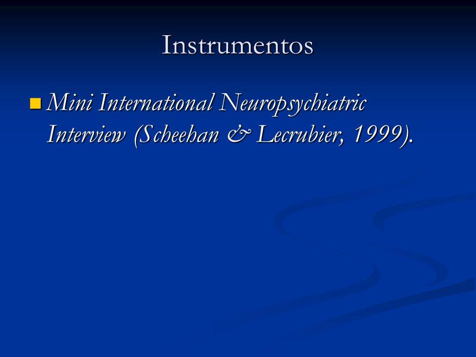 Instrumentos Mini International Neuropsychiatric Interview (Scheehan & Lecrubier, 1999). Mini International Neuropsychiatric Interview (Scheehan & Lec