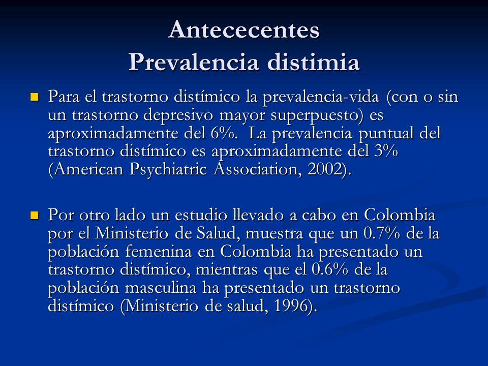 Antececentes Prevalencia distimia Para el trastorno distímico la prevalencia-vida (con o sin un trastorno depresivo mayor superpuesto) es aproximadame