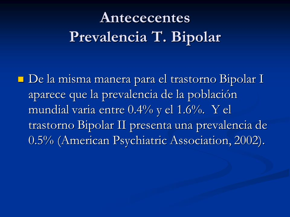 Antececentes Prevalencia T.