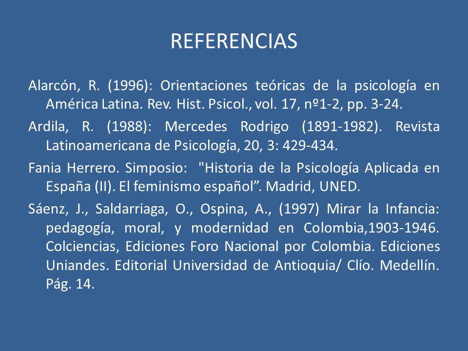 REFERENCIAS Alarcón, R. (1996): Orientaciones teóricas de la psicología en América Latina. Rev. Hist. Psicol., vol. 17, nº1-2, pp. 3-24. Ardila, R. (1