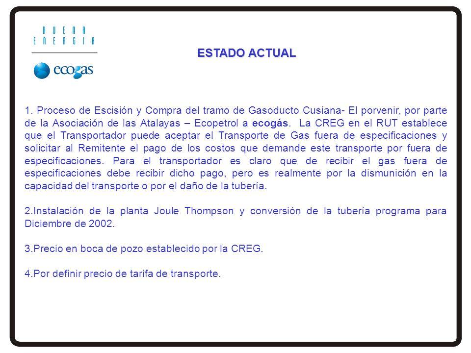 1. Proceso de Escisión y Compra del tramo de Gasoducto Cusiana- El porvenir, por parte de la Asociación de las Atalayas – Ecopetrol a ecogás. La CREG