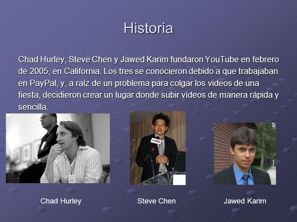 Historia Chad Hurley, Steve Chen y Jawed Karim fundaron YouTube en febrero de 2005, en California. Los tres se conocieron debido a que trabajaban en P