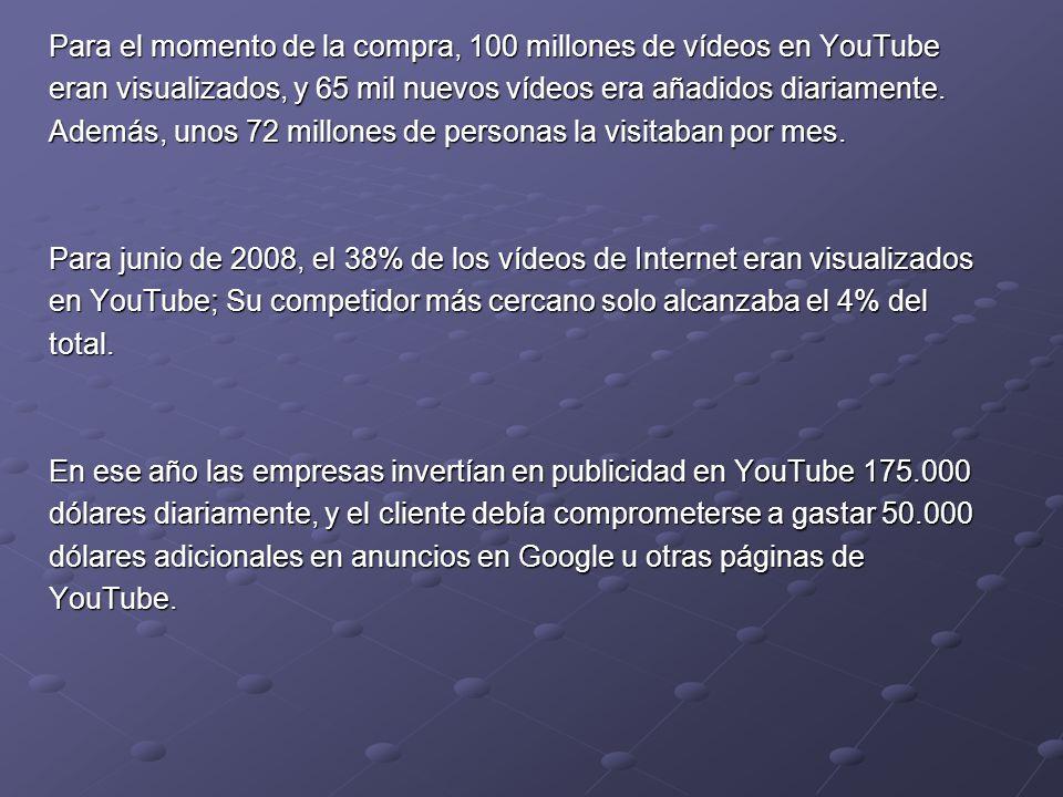 Para el momento de la compra, 100 millones de vídeos en YouTube eran visualizados, y 65 mil nuevos vídeos era añadidos diariamente. Además, unos 72 mi