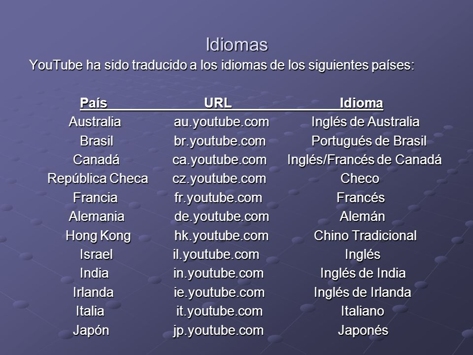 Idiomas YouTube ha sido traducido a los idiomas de los siguientes países: País URL Idioma País URL Idioma Australia au.youtube.com Inglés de Australia Australia au.youtube.com Inglés de Australia Brasil br.youtube.com Portugués de Brasil Brasil br.youtube.com Portugués de Brasil Canadá ca.youtube.com Inglés/Francés de Canadá Canadá ca.youtube.com Inglés/Francés de Canadá República Checa cz.youtube.com Checo República Checa cz.youtube.com Checo Francia fr.youtube.com Francés Francia fr.youtube.com Francés Alemania de.youtube.com Alemán Alemania de.youtube.com Alemán Hong Kong hk.youtube.com Chino Tradicional Hong Kong hk.youtube.com Chino Tradicional Israel il.youtube.com Inglés Israel il.youtube.com Inglés India in.youtube.com Inglés de India India in.youtube.com Inglés de India Irlanda ie.youtube.com Inglés de Irlanda Irlanda ie.youtube.com Inglés de Irlanda Italia it.youtube.com Italiano Italia it.youtube.com Italiano Japón jp.youtube.com Japonés Japón jp.youtube.com Japonés