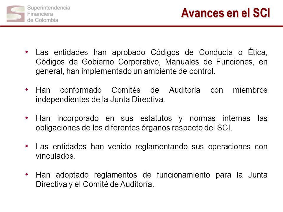 Avances en el SCI Las entidades han aprobado Códigos de Conducta o Ética, Códigos de Gobierno Corporativo, Manuales de Funciones, en general, han implementado un ambiente de control.